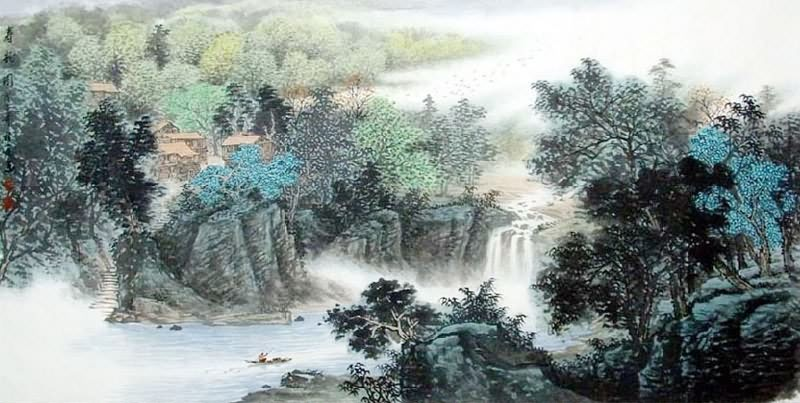 Chinese Mountain and Water Painting 1068011, 69cm x 138cm ...