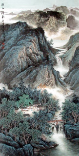 Chinese Mountain and Water Painting,69cm x 138cm,1068025-x