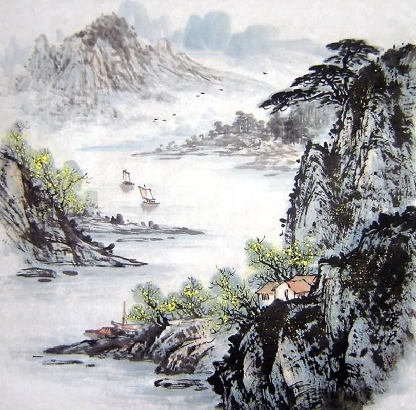 Chinese Mountain and Water Painting 1071004, 66cm x 66cm ...