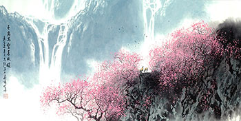 Chinese Mountain and Water Painting,68cm x 136cm,1095070-x