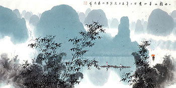 Chinese Mountain and Water Painting,68cm x 136cm,1095071-x