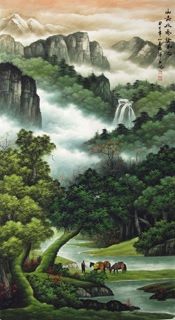 Chinese Mountain and Water Painting,97cm x 180cm,1135076-x