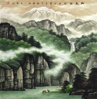 Chinese Mountain and Water Painting,66cm x 66cm,1135084-x