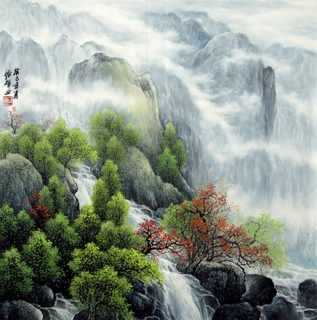 Chinese Mountain and Water Painting,69cm x 69cm,1135096-x
