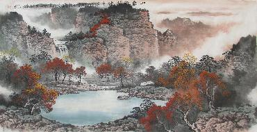 Chinese Mountain and Water Painting,68cm x 136cm,lh11083001-x