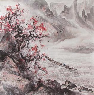 Chinese Mountain and Water Painting,68cm x 68cm,qy11085001-x