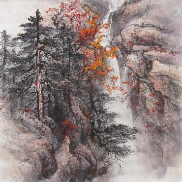 Chinese Mountain and Water Painting,68cm x 68cm,qy11085002-x