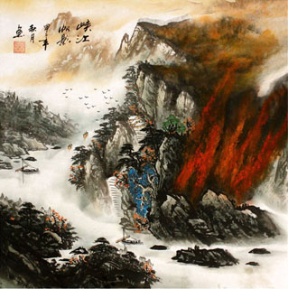 Chinese Mountains Painting,68cm x 68cm,1016028-x