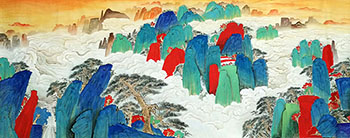 Chinese Mountains Painting,96cm x 240cm,clt11092001-x