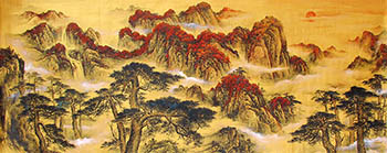 Chinese Mountains Painting,70cm x 180cm,hxx11086001-x