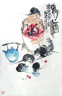 Chinese Mouse Painting,43cm x 65cm,4371007-x
