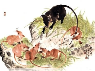 Chinese Mouse Painting,63cm x 46cm,4533004-x