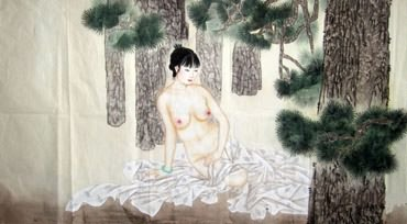 Chinese Nude Girl Painting,66cm x 136cm,3082030-x