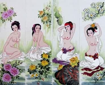 Chinese Nude Girl Painting,33cm x 110cm,3449008-x