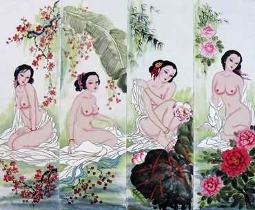 Chinese Nude Girl Painting,33cm x 110cm,3449009-x