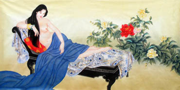 Chinese Nude Girl Painting,69cm x 138cm,3506023-x