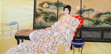 Chinese Nude Girl Painting,69cm x 138cm,3506024-x