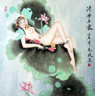 Chinese Nude Girl Painting,69cm x 69cm,3527001-x