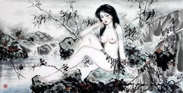 Chinese Nude Girl Painting,66cm x 136cm,3712005-x