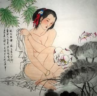 Chinese Nude Girl Painting,69cm x 69cm,3719018-x
