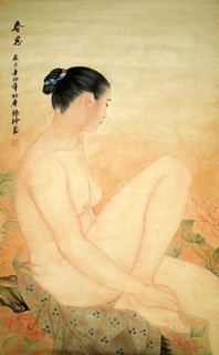 Chinese Nude Girl Painting,68cm x 110cm,3726003-x
