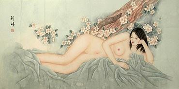 Chinese Nude Girl Painting,66cm x 136cm,3726004-x