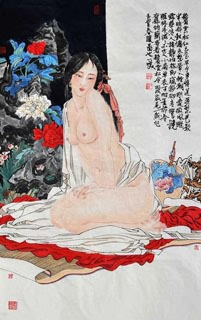 Chinese Nude Girl Painting,69cm x 46cm,3776030-x