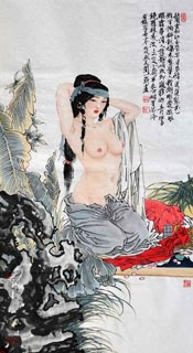 Chinese Nude Girl Painting,69cm x 46cm,3776032-x