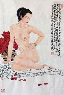 Chinese Nude Girl Painting,69cm x 46cm,3776034-x
