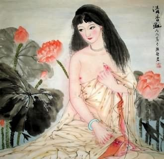 Chinese Nude Girl Painting,69cm x 69cm,3778010-x