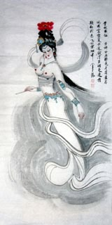 Chinese Nude Girl Painting,66cm x 136cm,3783008-x
