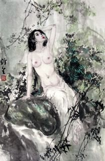 Chinese Nude Girl Painting,69cm x 46cm,3798015-x