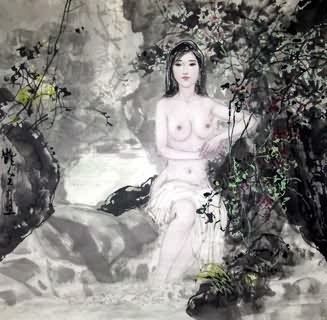 Chinese Nude Girl Painting,69cm x 69cm,3798018-x