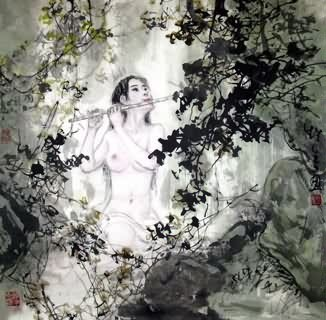 Chinese Nude Girl Painting,69cm x 69cm,3798019-x