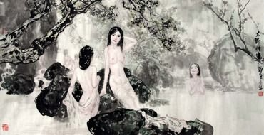 Chinese Nude Girl Painting,69cm x 138cm,3798020-x
