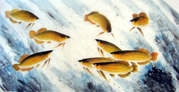 Chinese Other Fishes Painting,69cm x 138cm,2326008-x