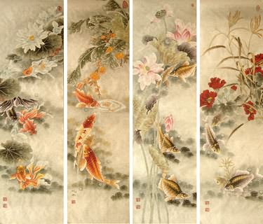 Chinese Other Fishes Painting,38cm x 138cm,2368004-x