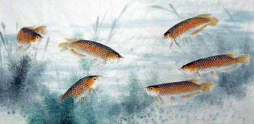 Chinese Other Fishes Painting,69cm x 138cm,2805010-x