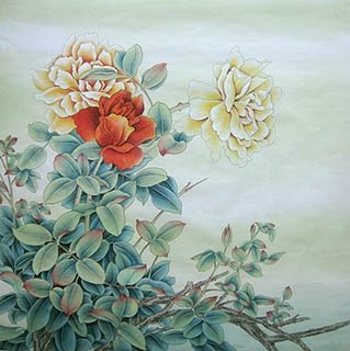 Chinese Other Flowers Painting,66cm x 66cm,2011040-x