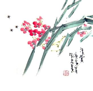 Chinese Other Flowers Painting,33cm x 33cm,2396022-x