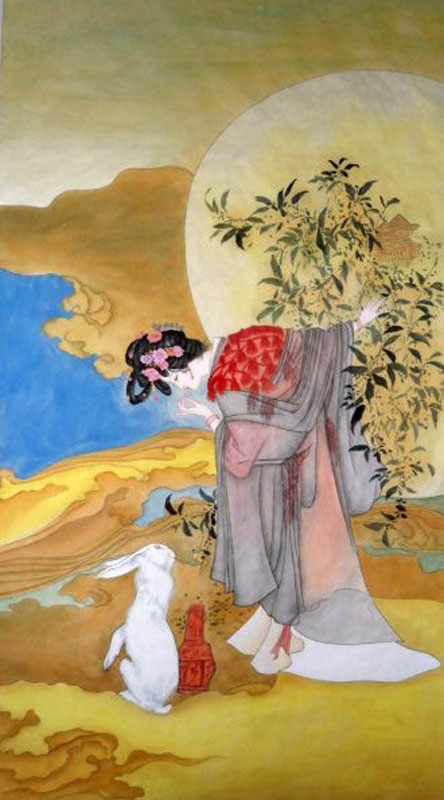 who are the characters of the story the lady chang This story is about chang'e(嫦娥), who is the goddess of the moon and lives  lonely  moon, you might be able to identify a lonely shade of a lady and a rabbit.