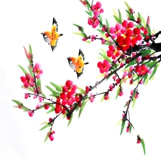 Chinese Peach Blossom Painting,33cm x 33cm,2336064-x