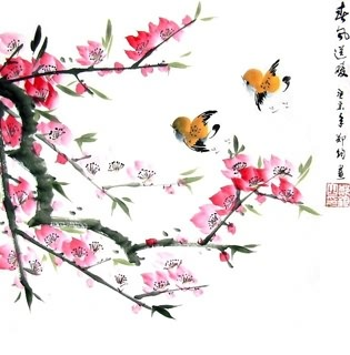 Chinese Peach Blossom Painting,33cm x 33cm,2336065-x