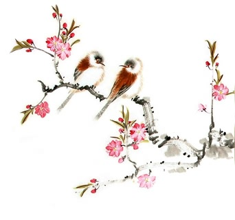 Chinese Peach Blossom Painting,38cm x 38cm,2340056-x