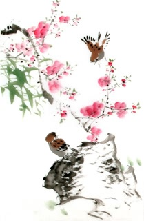 Chinese Peach Blossom Painting,63cm x 46cm,2340057-x