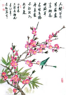 Chinese Peach Blossom Painting,46cm x 70cm,2360042-x
