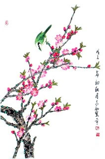 Chinese Peach Blossom Painting,69cm x 46cm,2360043-x