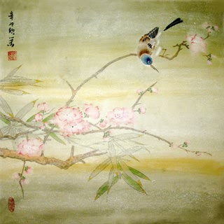 Chinese Peach Blossom Painting,50cm x 50cm,2395010-x