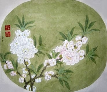 Chinese Peach Blossom Painting,34cm x 46cm,2405008-x
