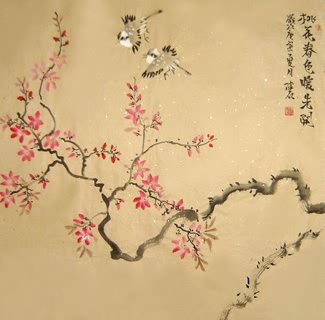 Chinese Peach Blossom Painting,66cm x 66cm,2407004-x
